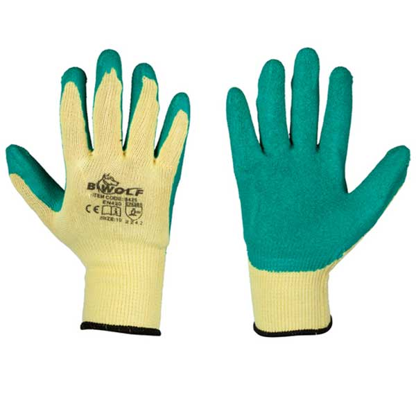 Protective latex coated gloves