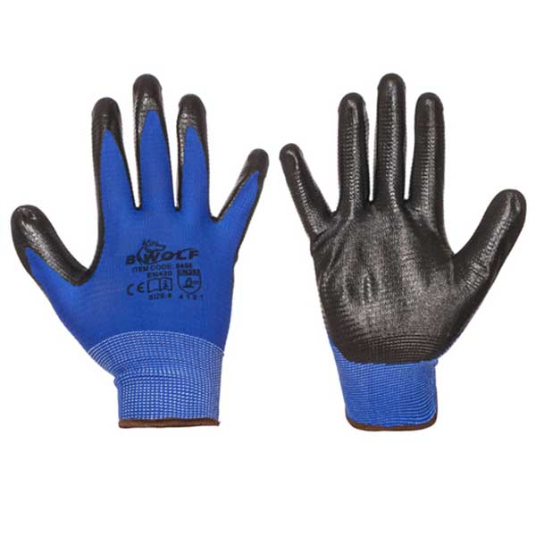 Knitted nitrile dipped protective gloves