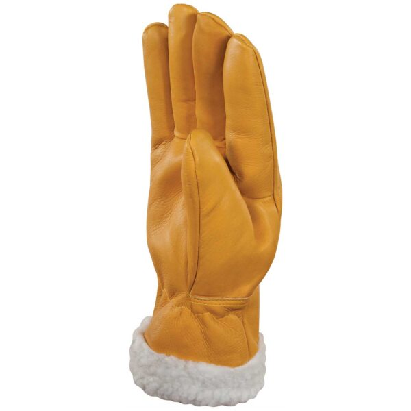 Cowhide full grain leather gloves with Fleece-lined cuff